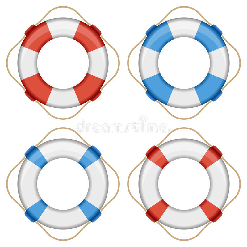 Lifebuoy Collection. In four different versions, isolated on white background. Eps file available stock illustration