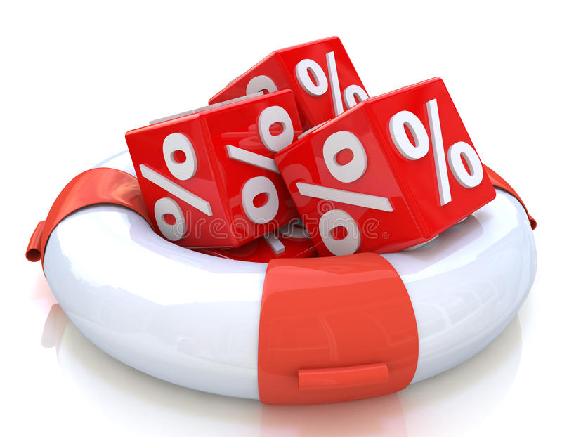 Lifebuoy and cubes percent royalty free stock photography