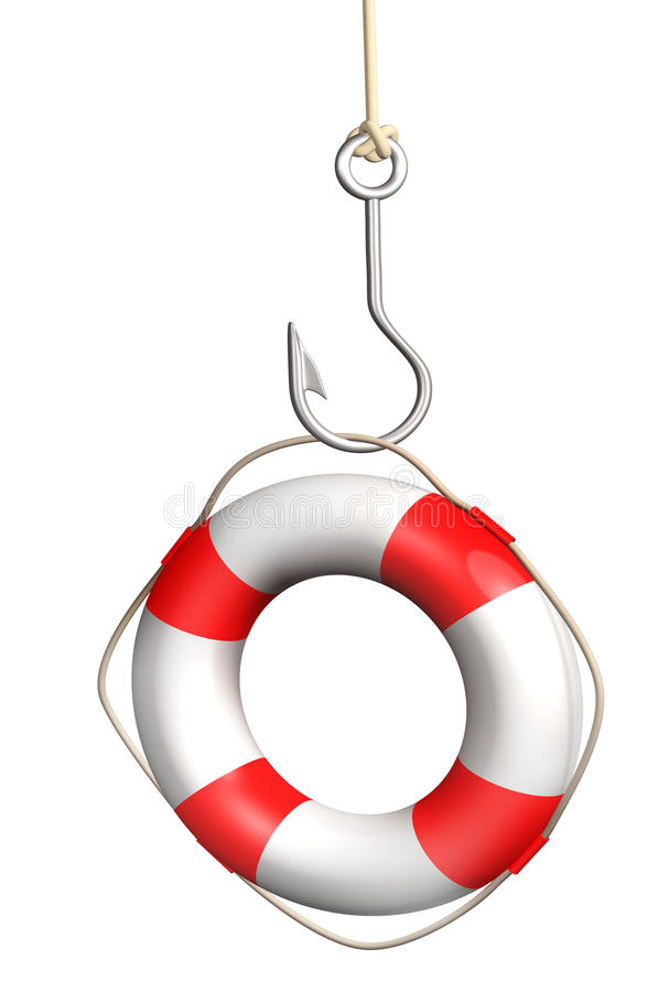Download Lifebuoy on a fishing hook stock illustration. Image of single - 26629576