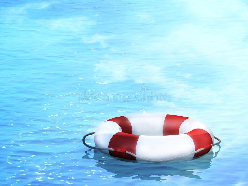 Lifebuoy, flotando en ondas stock de ilustración