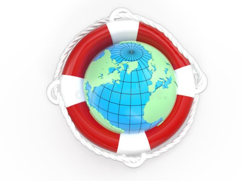Lifebuoy and globe Earth stock illustration