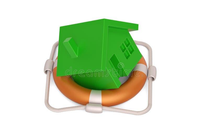 Lifebuoy and  house isolated on white background, 3D illustration. Lifebuoy and house isolated on white background, 3D illustration royalty free illustration