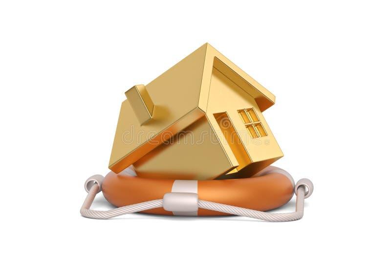 Lifebuoy and  house isolated on white background, 3D illustration. Lifebuoy and house isolated on white background, 3D illustration vector illustration