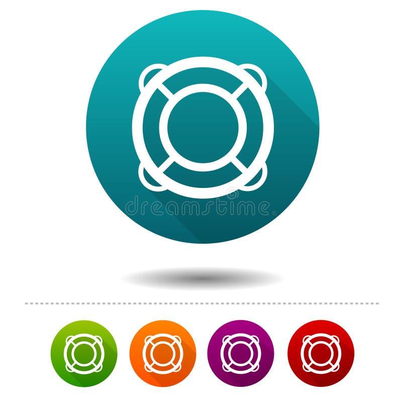 Lifebuoy ikony Podróż znaki Nautyczny symbol Wektorowi okrąg sieci guziki ilustracja wektor