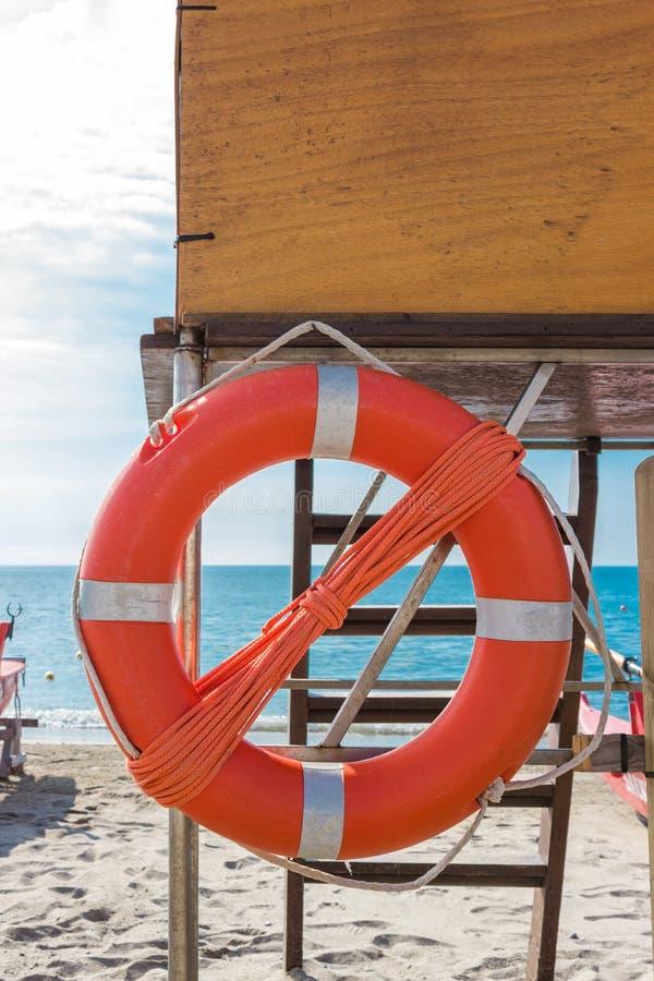 Lifebuoy On Lifeguard Tower Stock Photo