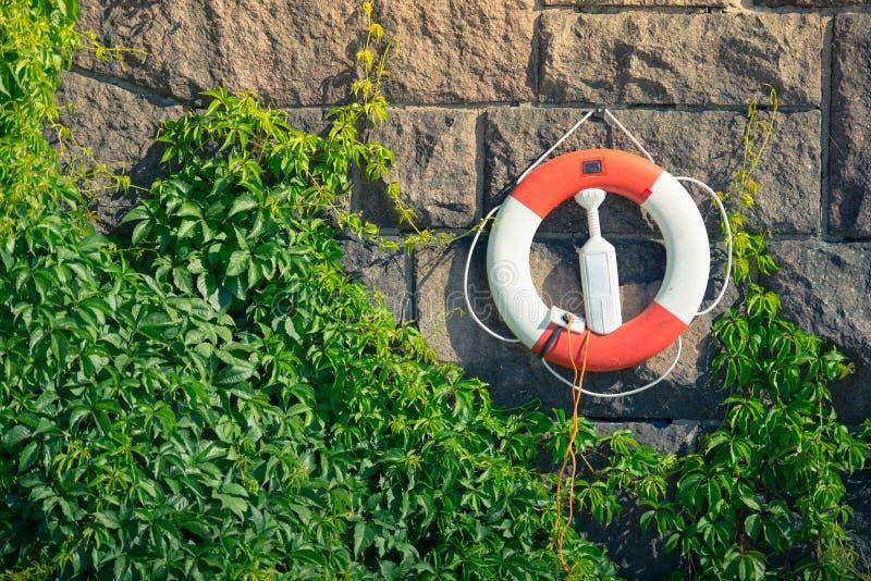 Lifebuoy na kamiennej ścianie zdjęcie stock