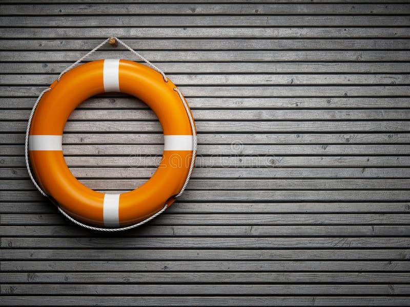 Lifebuoy na parede de madeira ilustração stock