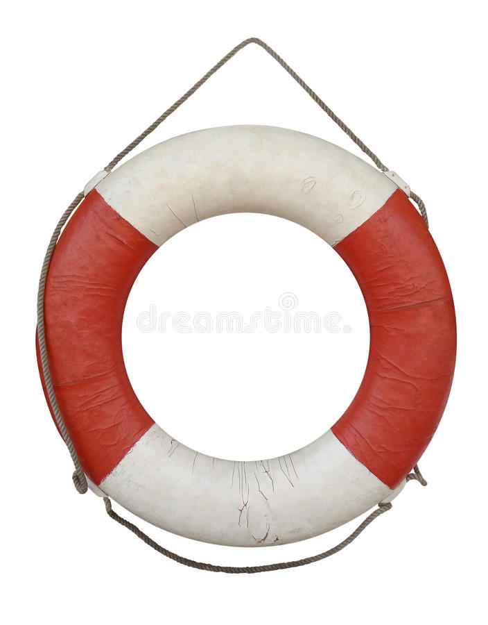 Lifebuoy old isolated on white royalty free stock image