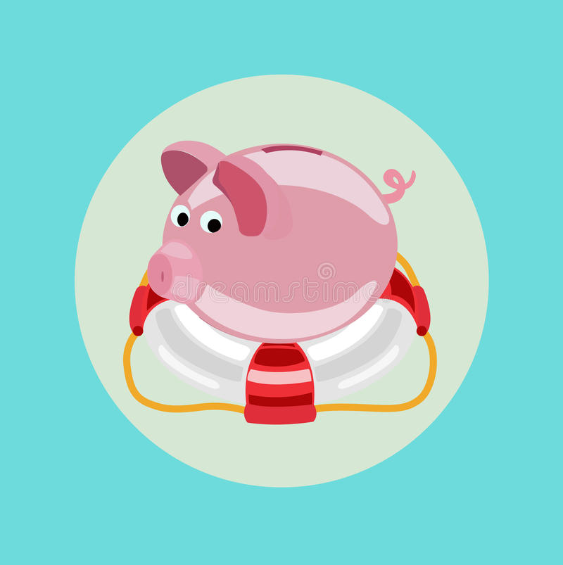 Lifebuoy and piggy bank icon flat design stock illustration