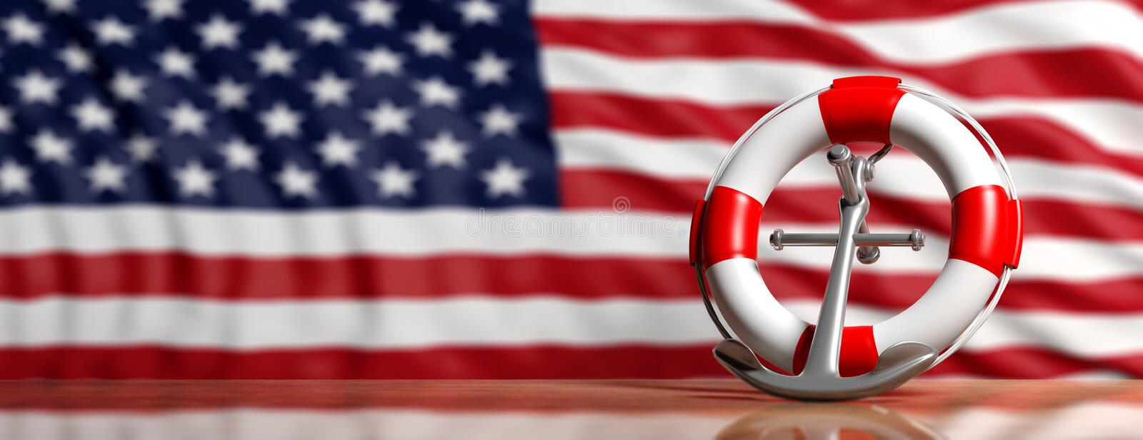 Lifebuoy and ship anchor on US of America flag background, banner. 3d illustration royalty free illustration