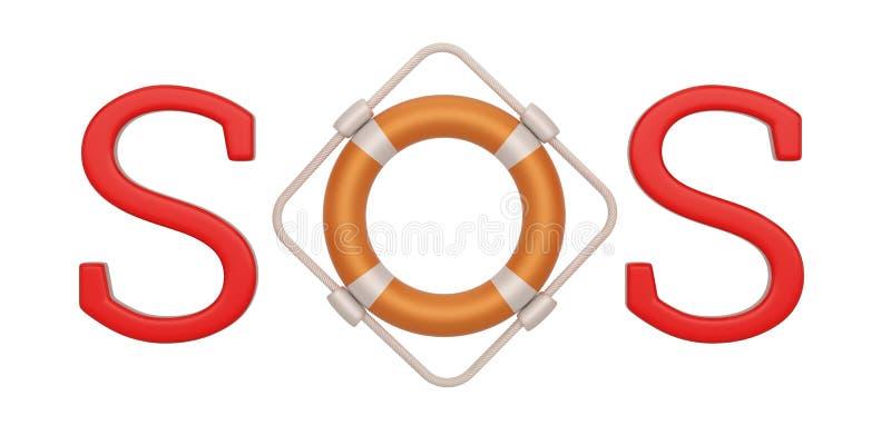 Lifebuoy sos icon  isolated on white background, 3D illustration. Lifebuoy sos icon isolated on white background, 3D illustration royalty free illustration