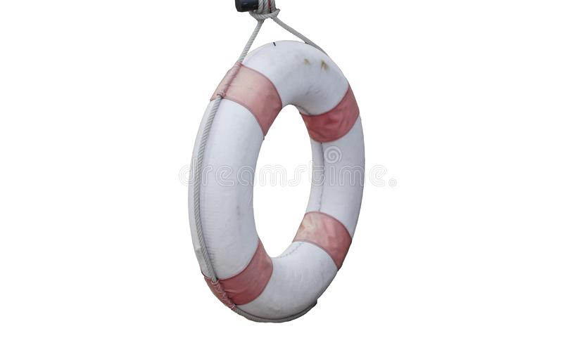 Lifebuoy stary obwieszenie odizolowywający na białych tło ?ycie ciu?acz fotografia stock