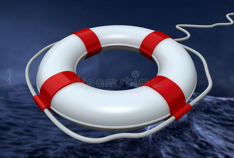 Download Lifebuoy in the storm stock illustration. Illustration of cloud - 12875643