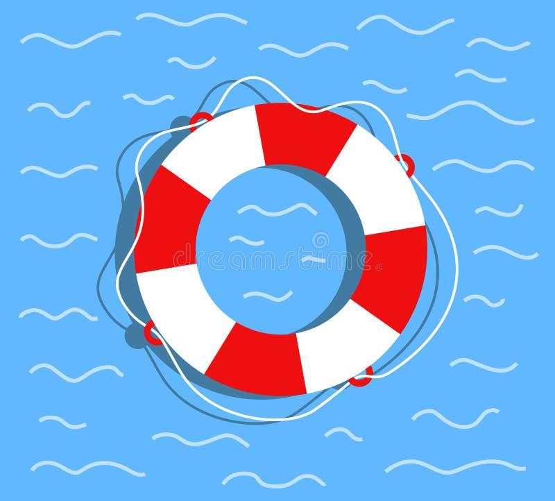 lifebuoy vatten Plan stilvektorillustration stock illustrationer