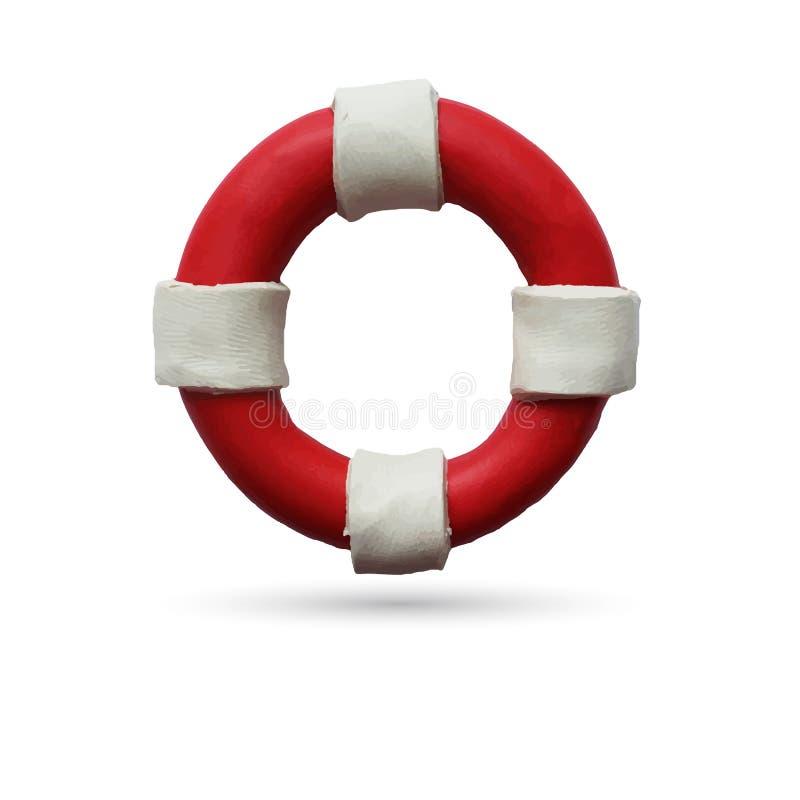 Lifebuoy on white background. Red and white lifebuoy on white background. Vector illustration. Plasticine modeling stock illustration
