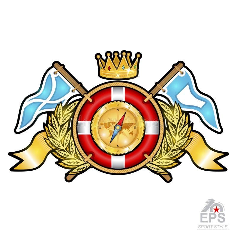 Lifebuoy z koroną w centrum złoty wianek między skrzydłami i flagami Sporta logo dla jakaś żeglowania championshi, jachtingu lub  royalty ilustracja