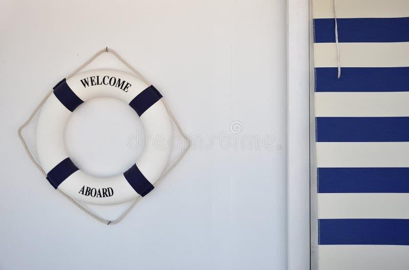 Lifebuoy z powitaniem aboard fotografia stock