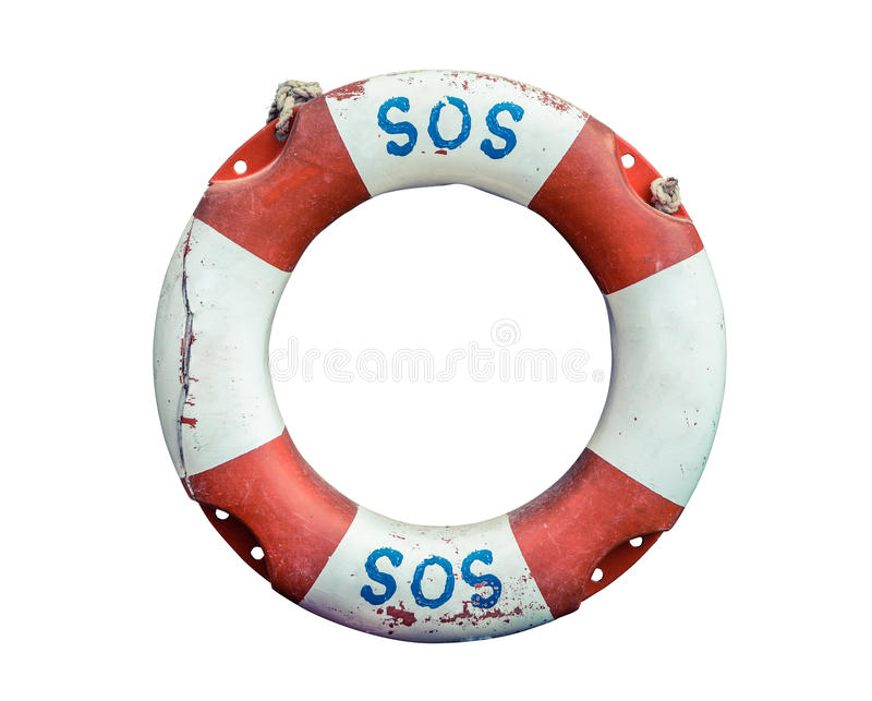 Lifebuoy Z SOS tekstem fotografia stock