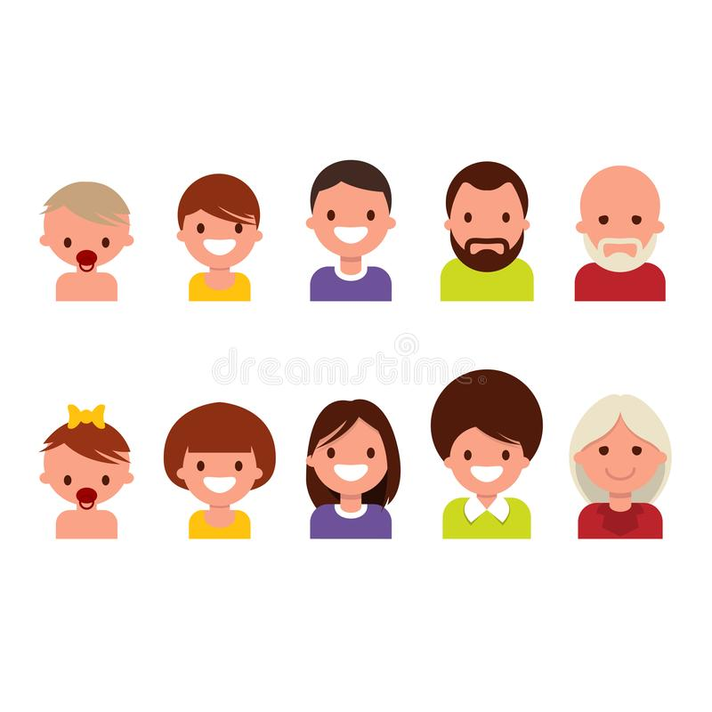 Lifecycle from birth to old age, ageing. People of different ages, from childhood to old age, icons. Lifecycle from birth to old age, ageing. People of different stock illustration