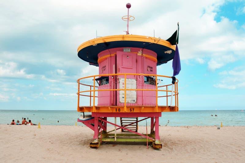 Lifegard post in miami. Colorfull lifegard post in miami beach, florida stock photography