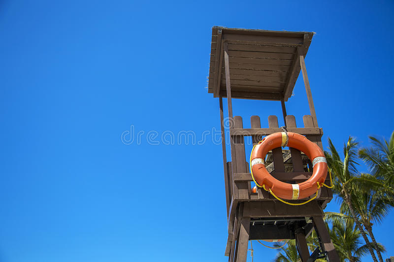 Lifegard stand. Observation tower on the beach stock image
