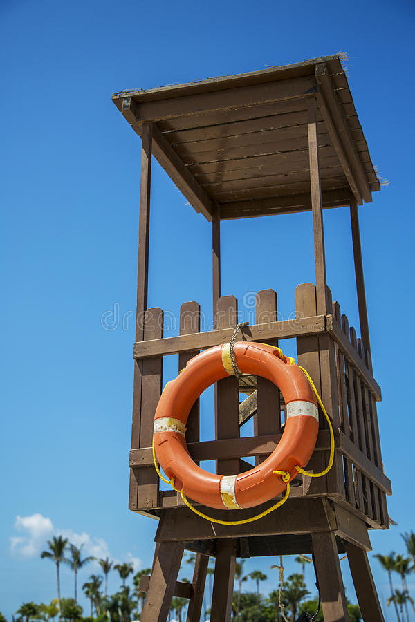Lifegard stand. Observation tower on the beach stock photos