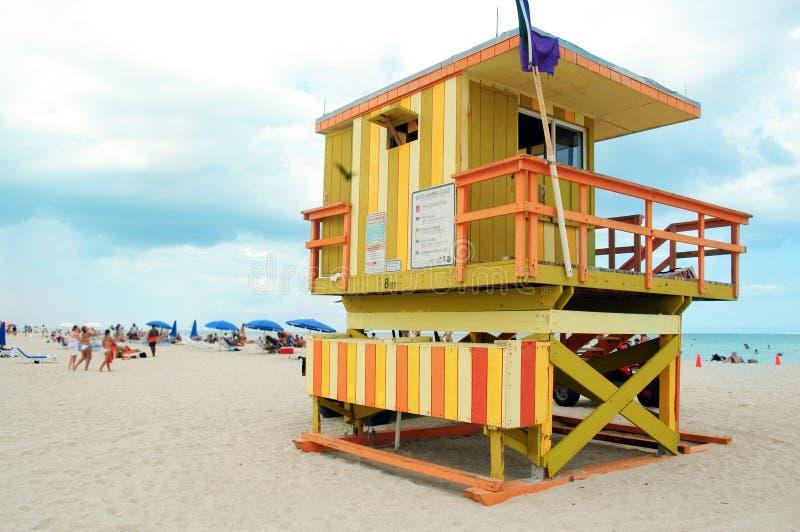 Lifegard tower in miami. Colorfull lifeguard tower in miami beach, florida royalty free stock image