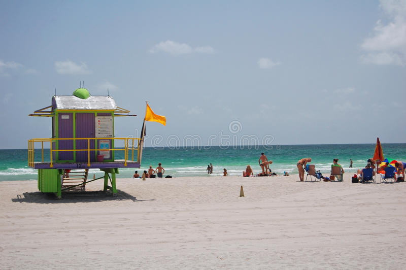 iconic lifeguard hut  south beach  miami stock photo