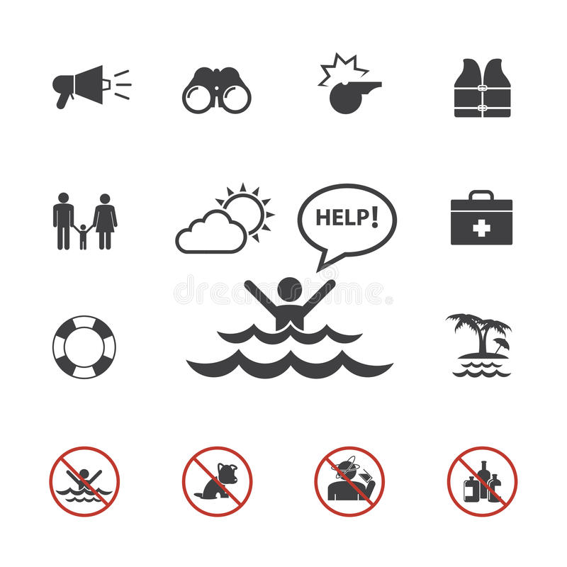 Lifeguard and beach warning icon set royalty free illustration