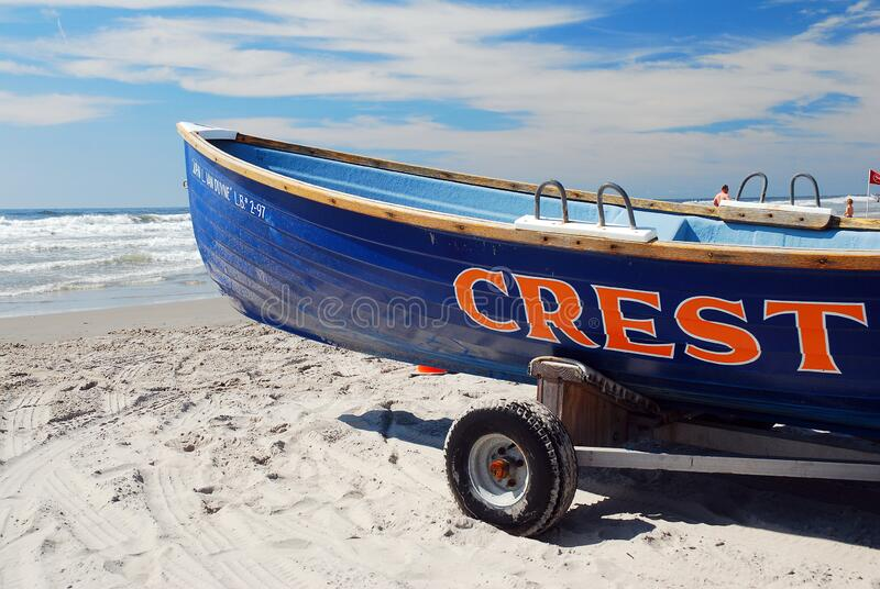 Lifeguard Boat at Wildwood Crest, Jersey Shore stock foto's