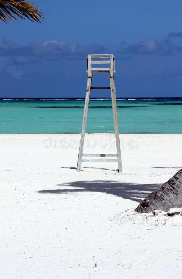 Lifeguard chair on perfect beach royalty free stock photography