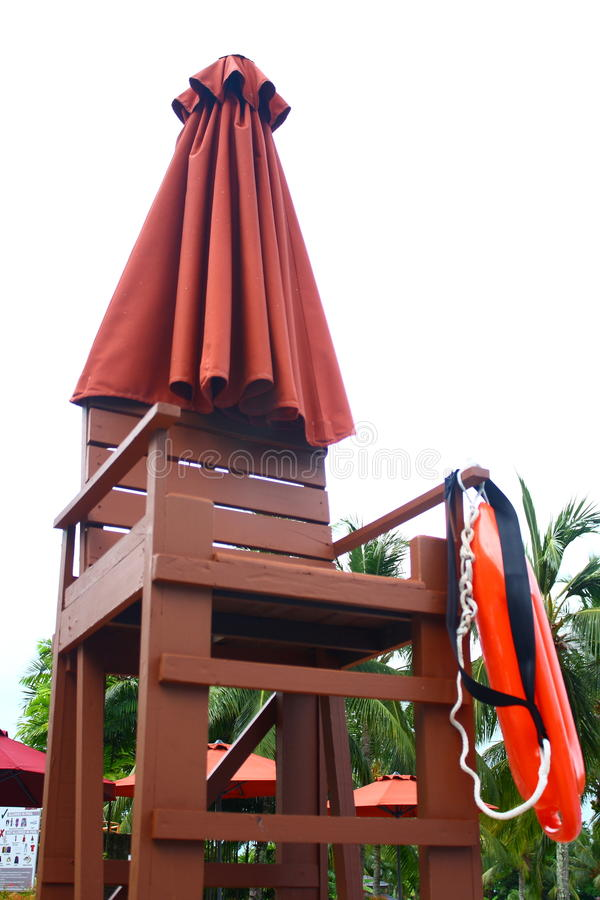 Lifeguard Chair at Poolside royalty free stock photo