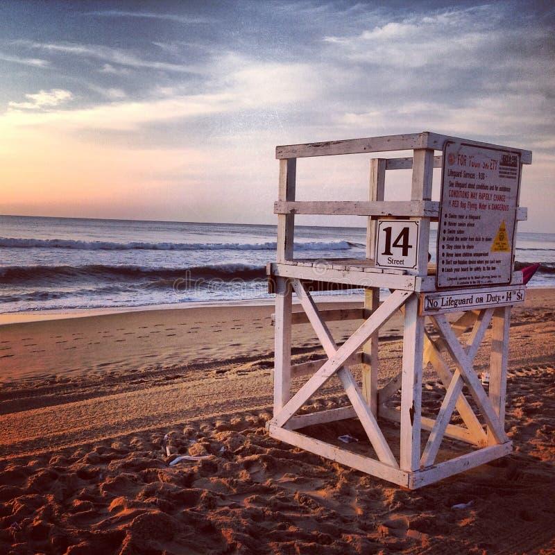 Lifeguard on Duty. A empty lifeguard post royalty free stock photography