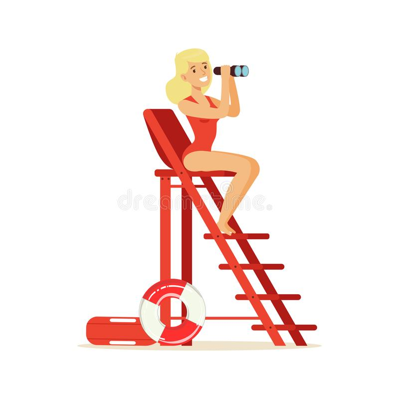 Lifeguard girl in a red swimsuit sitting on lookout tower and looking at binoculars, rescuer professional vector stock illustration