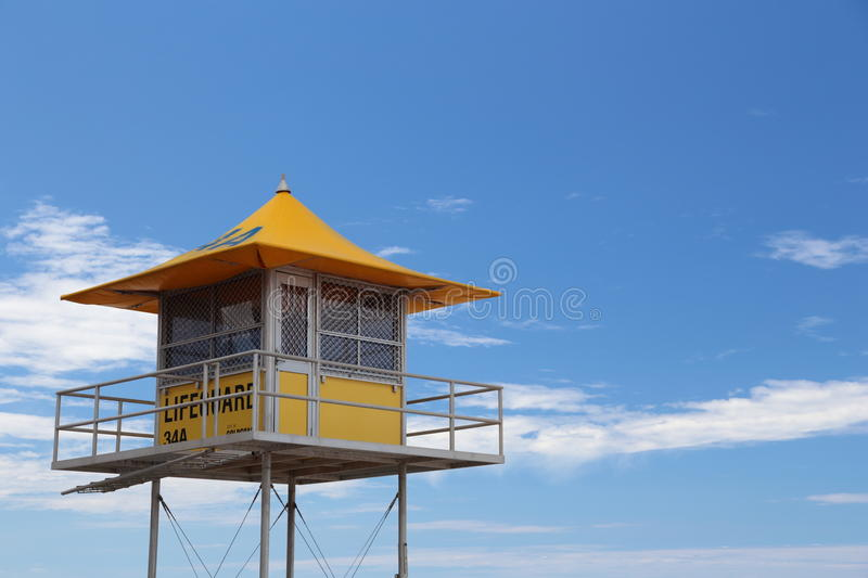 Lifeguard Hut at Gold Coast. With blue sky as background stock images
