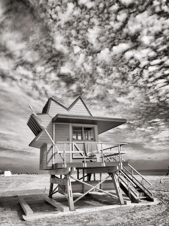 Lifeguard Hut Miami Beach, Florida, EUA foto de stock