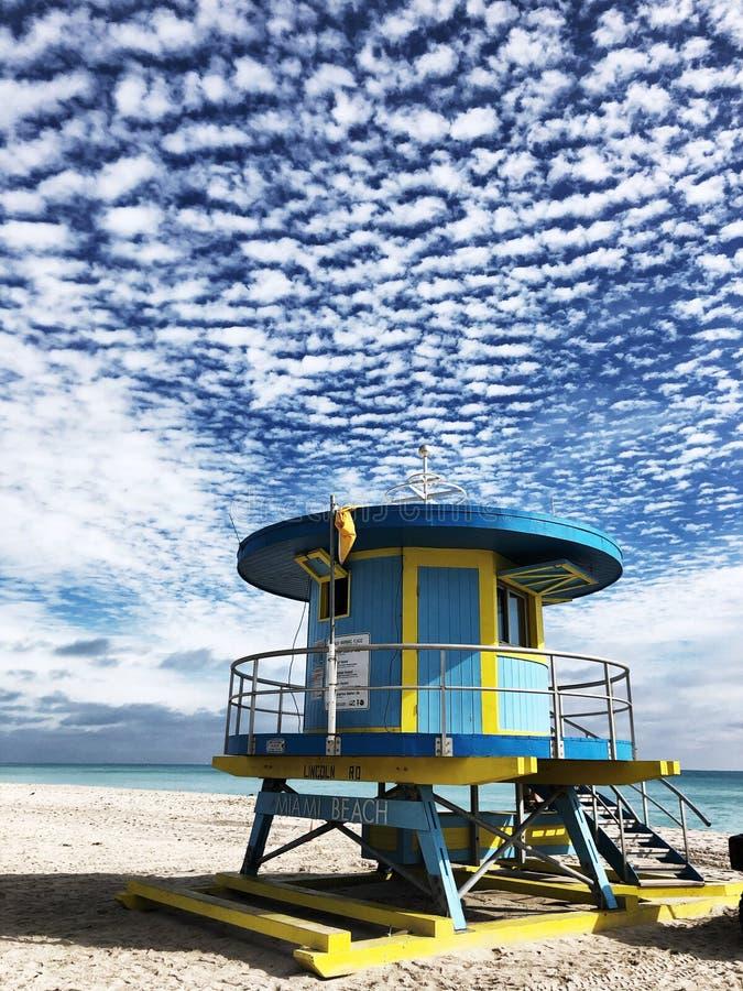 Lifeguard Hut Miami Beach, Florida, EUA fotografia de stock