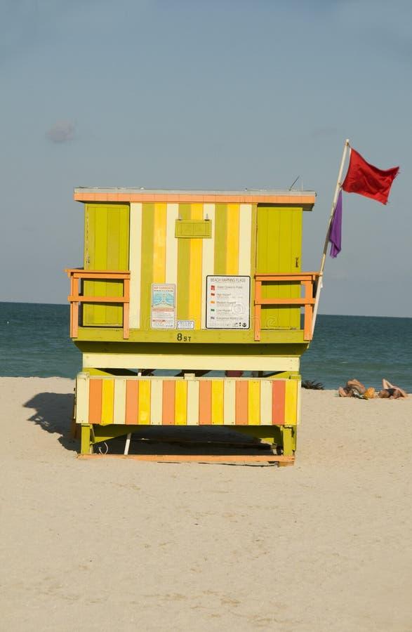 Lifeguard hut south beach miami stock photos
