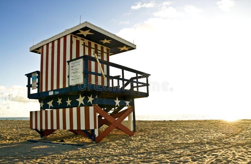 Lifeguard hut on South Beach Miami, at sunrise stock image