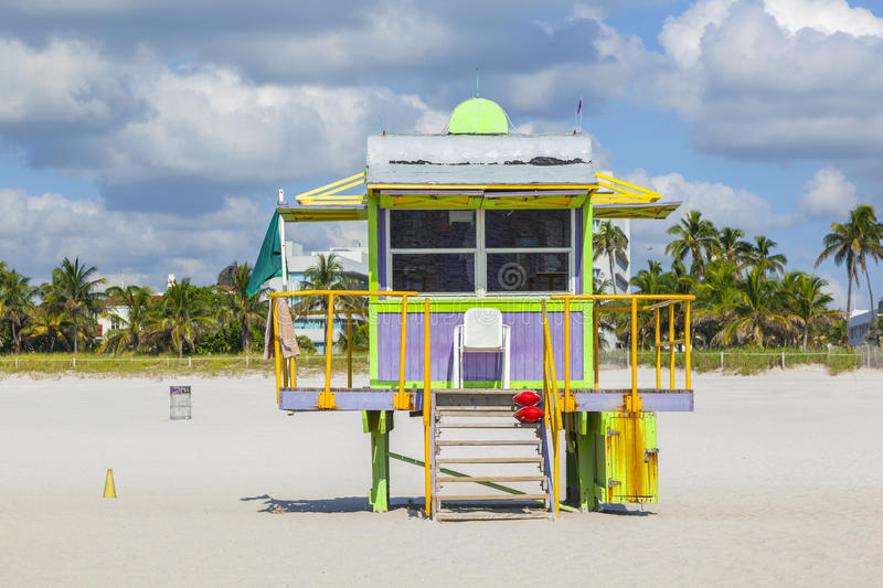 Lifeguard hut at the white beach in South Beach, Miami stock image