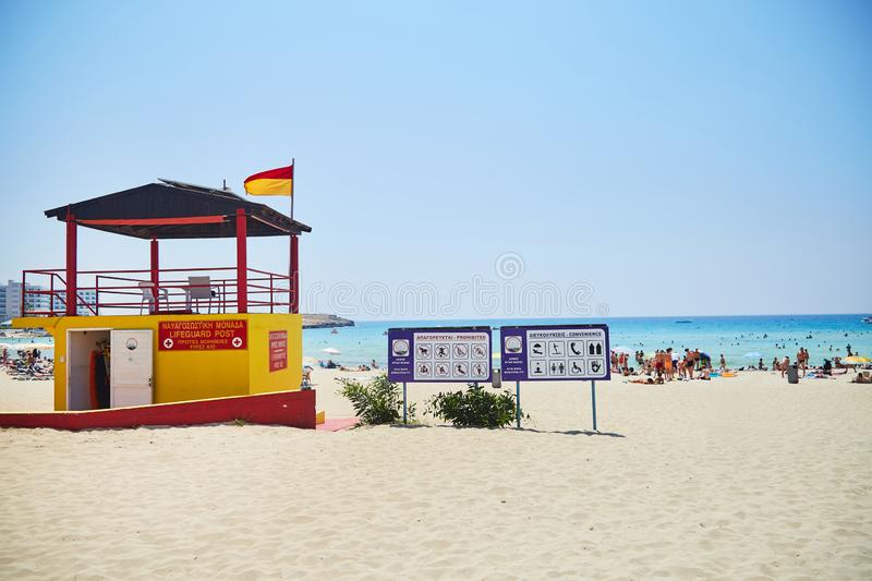 Lifeguard post beach. Safety point first aid on Cyprus-june 2019 stock images