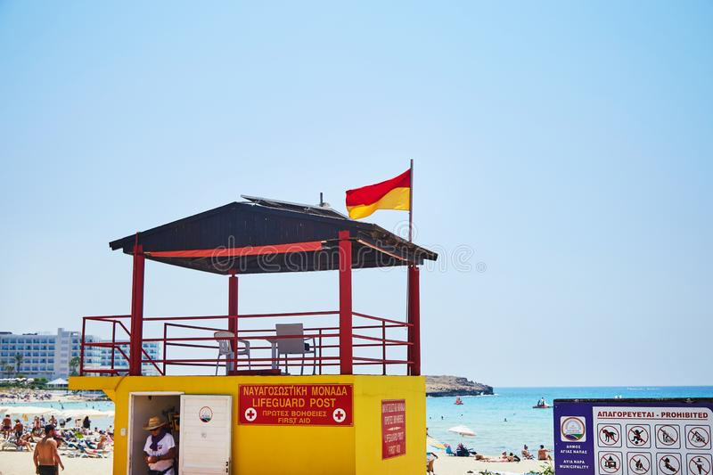 Lifeguard post beach. Safety point first aid on Cyprus royalty free stock image