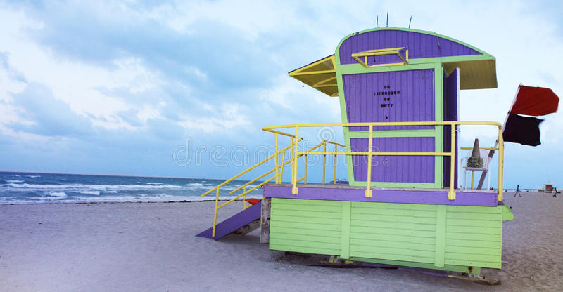 Lifeguard Post. Colorful lifeguard post and cabin in Miami Beach royalty free stock image