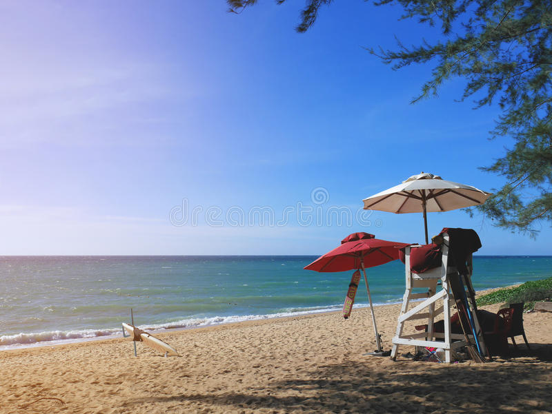 Lifeguard post on Phuket beach in late afternoon. stock images