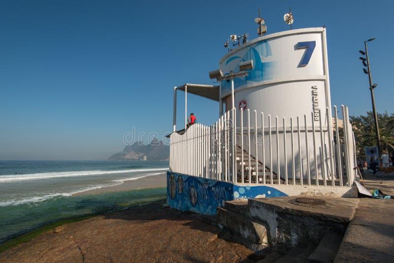 Lifeguard Post. Rio de Janeiro, Brazil - May 7, 2016: Lifeguard post 7 stands on the rock in Arpoador beach stock photography