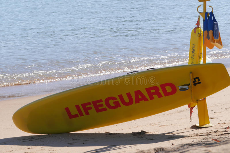 Lifeguard post. With various rescue aids on a beach on Magnetic Island, Queensland, Australia stock photo