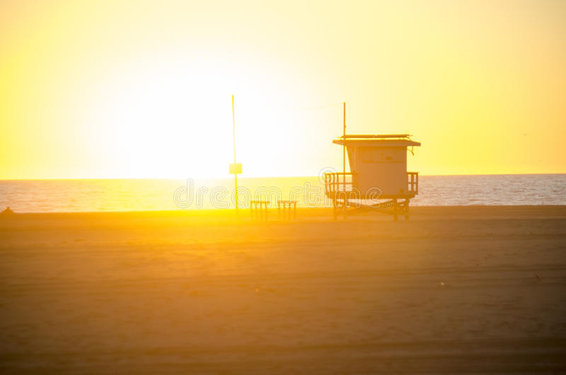 Lifeguard post. This is a lifeguard post on a west coast beach on a sunny day stock images