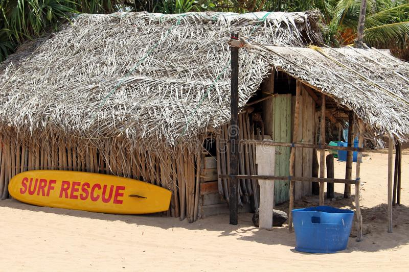 The lifeguard shack of Nilaveli beach in Trincomalee. Taken in Sri Lanka, August 2018 stock photos
