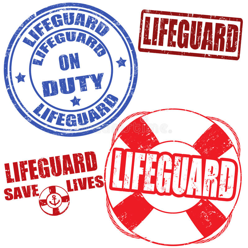 Lifeguard stamps vector illustration