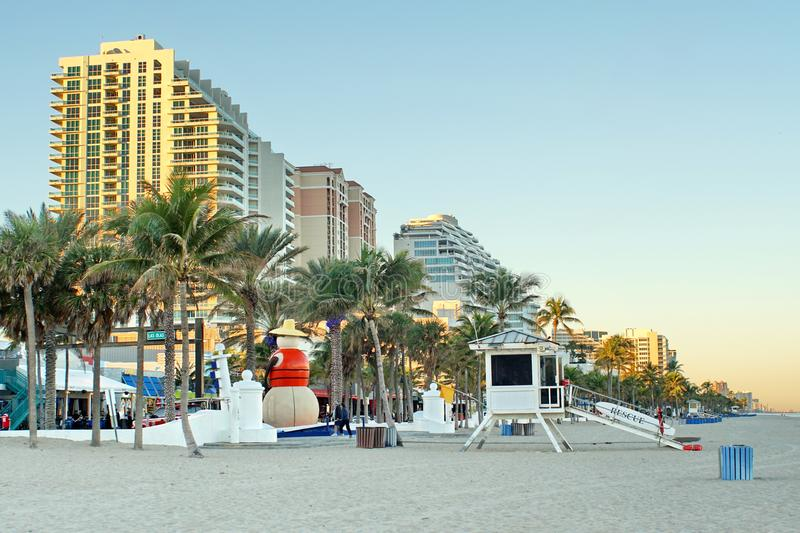 Lifeguard stand on Fort Lauderdale Beach stock photo